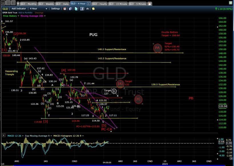 PUG GLD 4-hr chart EOD 1-17-14