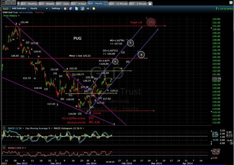 PUG GLD 60-min chart EOD 1-17-14