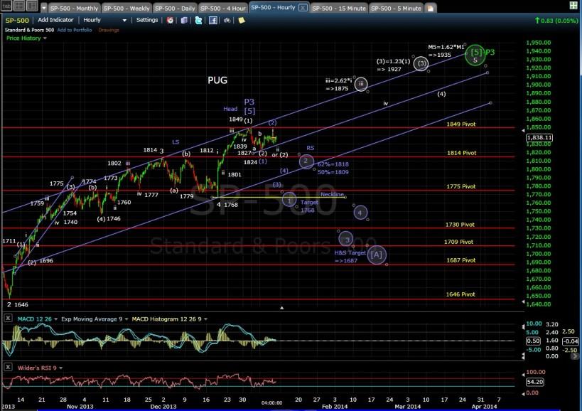 PUG SP-500 60-min chart EOD 1-9-14