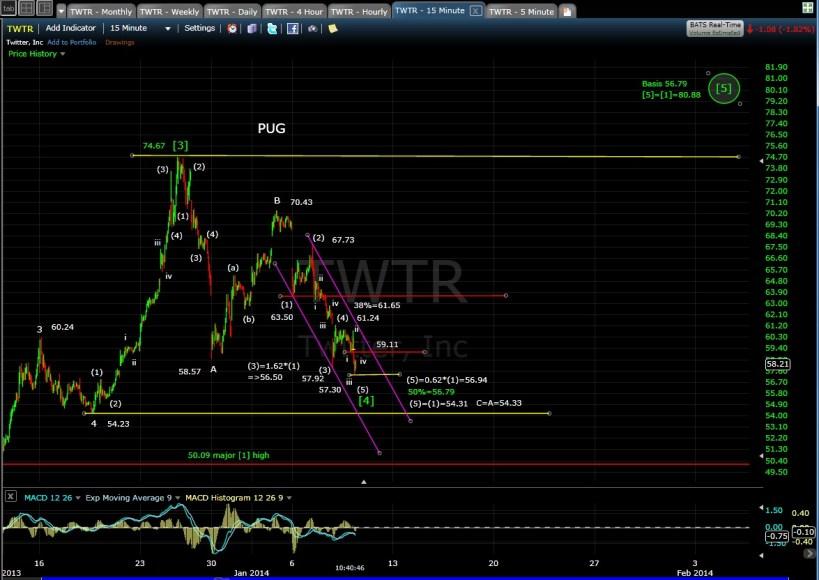 PUG TWTR 15-min chart MD 1-9-14