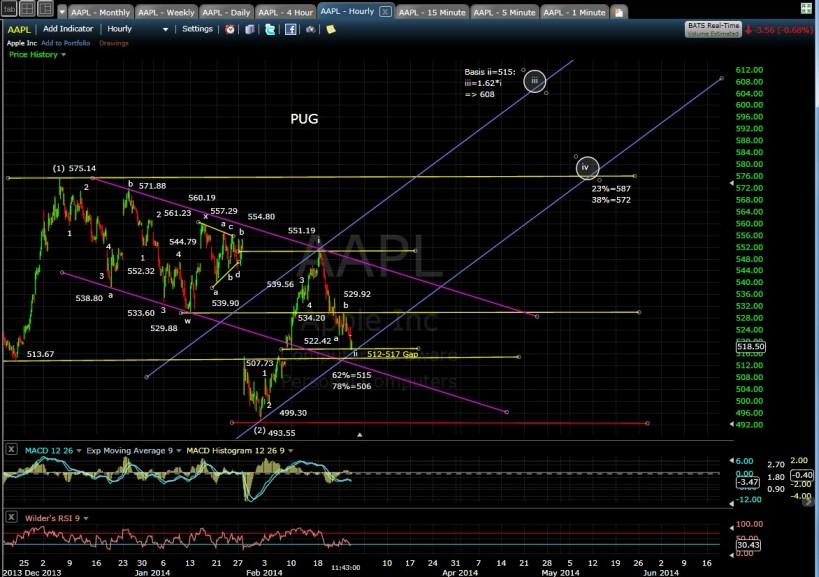 PUG AAPL 60-min chart MD 2-26-14