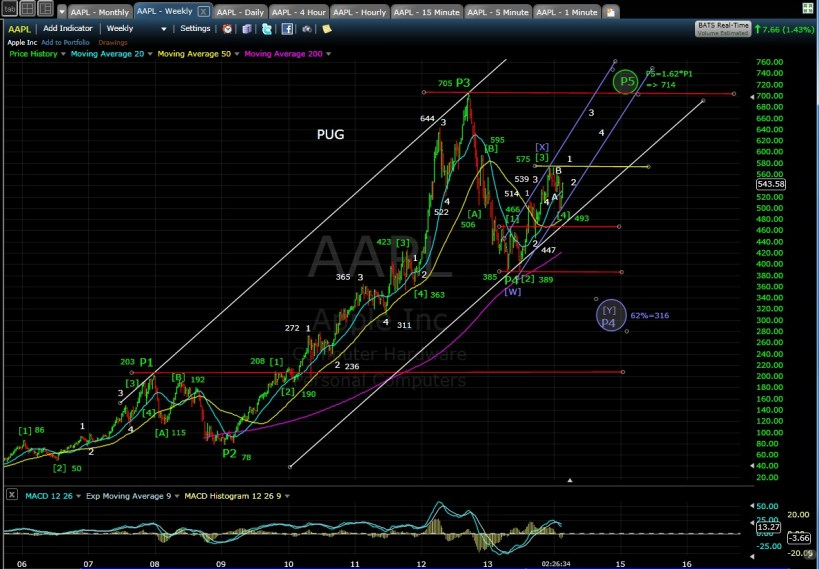 PUG AAPL weekly chart MD 2-13-14