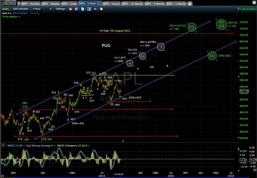 PUG AAPL 4-hr chart EOD 3-3-14