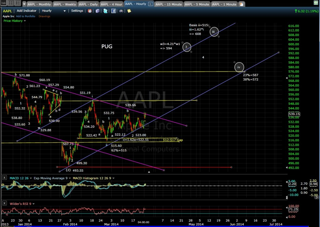 PUG AAPL 60-min chart EOD 3-24-14