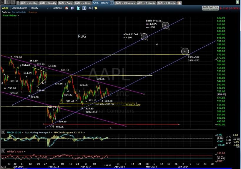 PUG AAPL 60-min chart MD 3-20-14