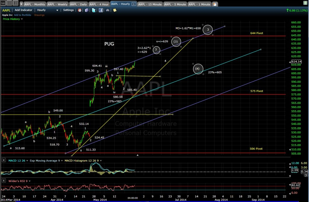 PUG AAPL 60-min chart EOD 5-23-14