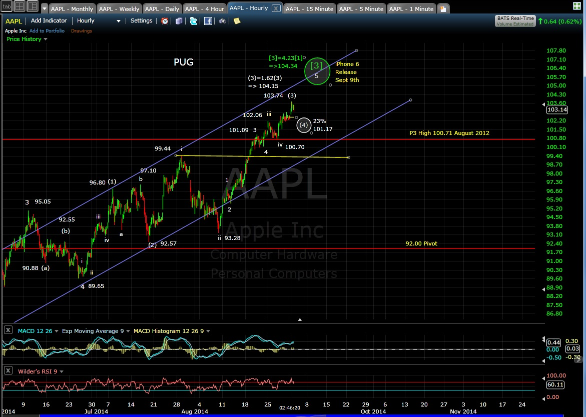 PUG AAPL 60-min chart EOD 9-2-14