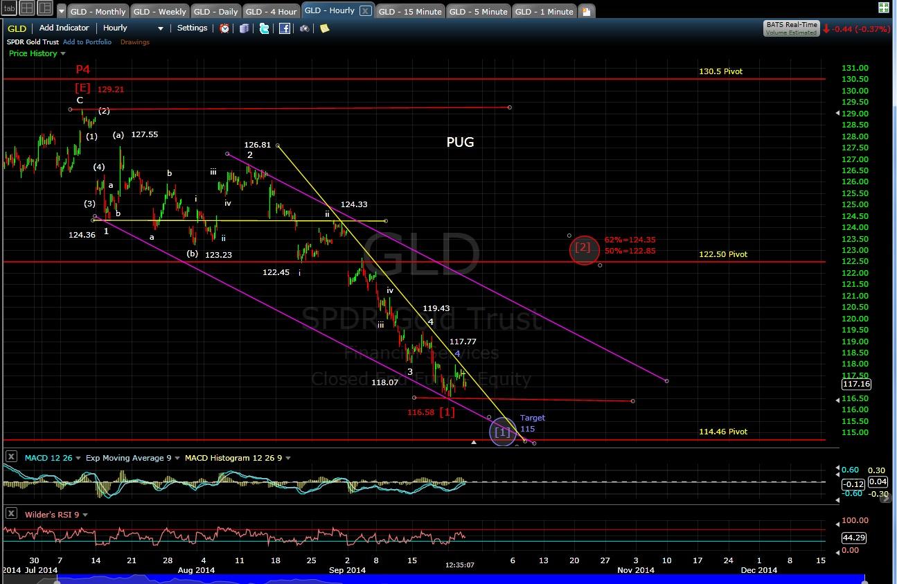 PUG GLD 60-min chart MD 9-24-14