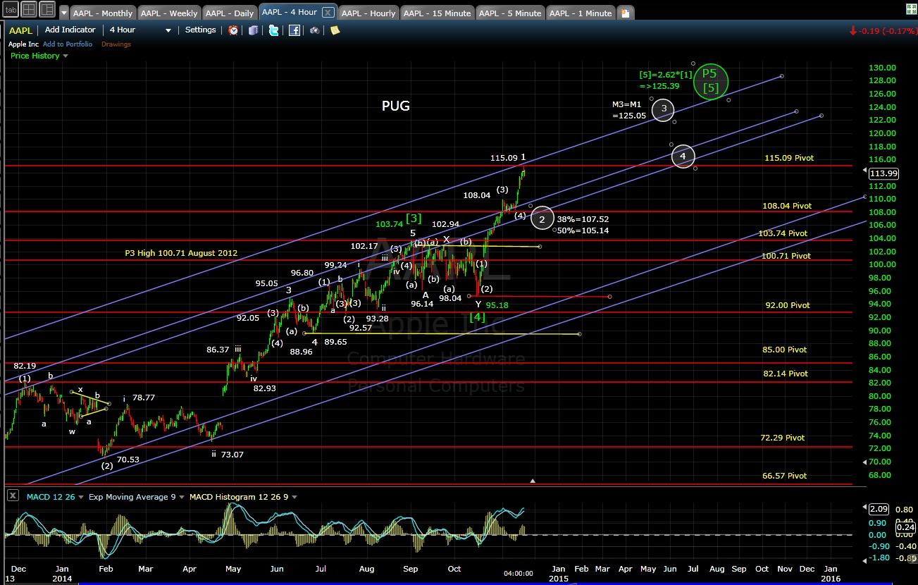 PUG AAPL 4-hr chart EOD 11-17-14