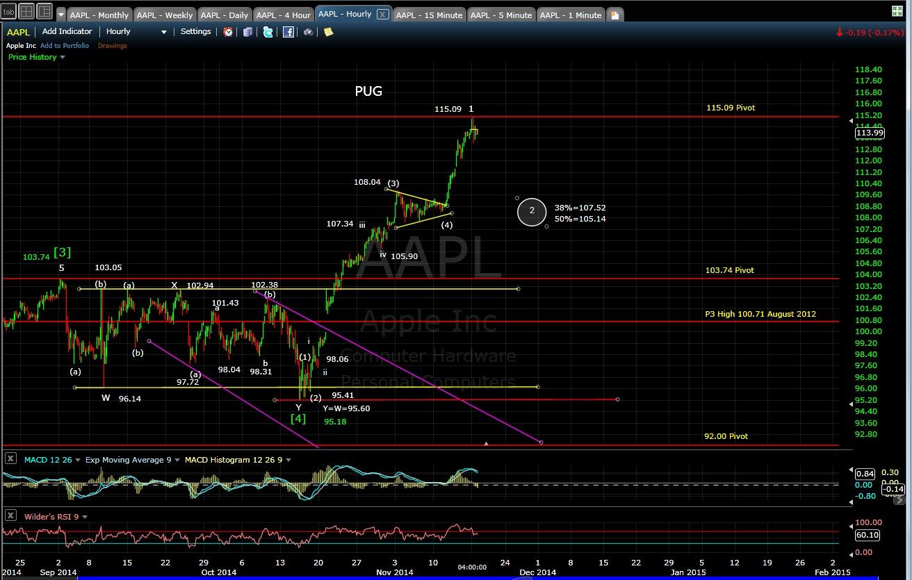 PUG AAPL 60-min chart EOD 11-17-14