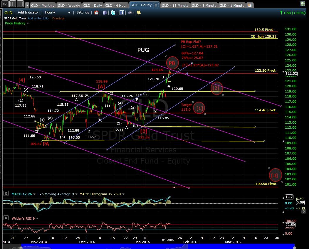 PUG GLD 60-min chart EOD 1-16-15