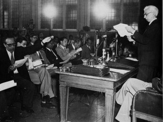 Bertrand Russell at the press conference releasing what became known as the Russell-Einstein Manifesto