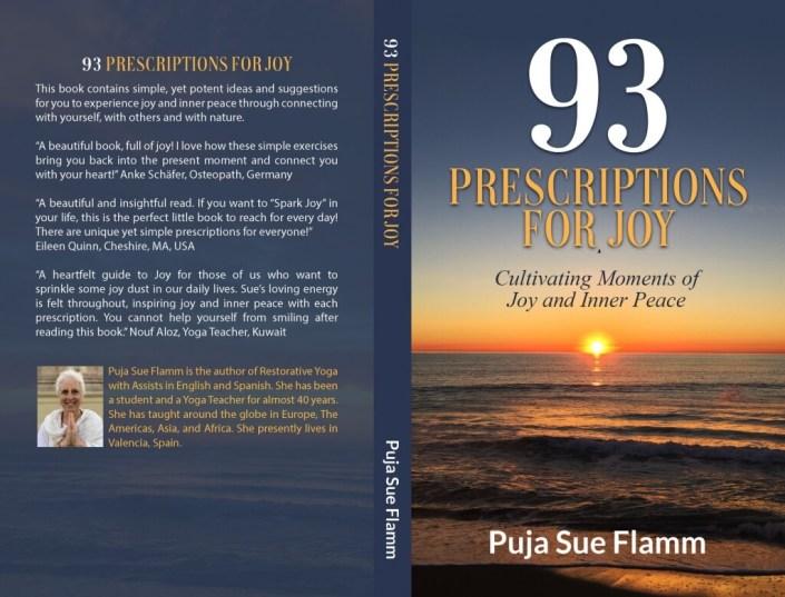 Porta y contraportada del libro 93 Prescriptions for joy escrito por Sue Flamm