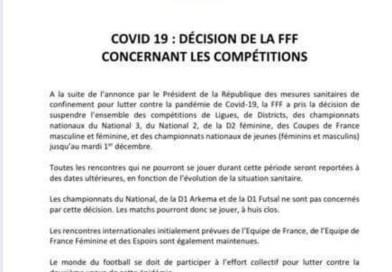 Ligue/District – Toutes les compétitions suspendues jusqu'au 1er décembre
