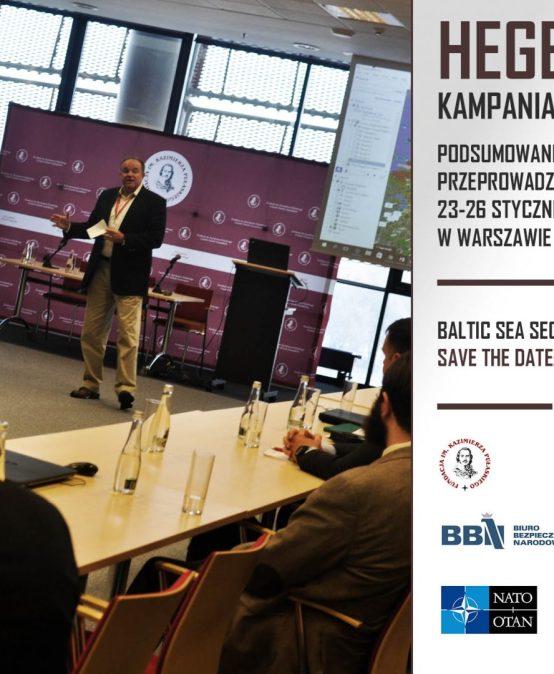 """Przedstawienie raportu zsymulacji """"HEGEMON: kampania bałtycka"""" zudziałem byłego szefa Sił NATO wEurope idowódców Sojuszniczego Korpusu Natychmiastowego Reagowania podczas Baltic Sea Security Conference 2017."""