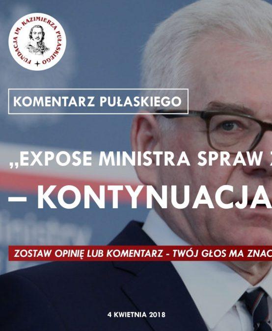"""KOMENTARZ PUŁASKIEGO – T. Smura: """"Expose ministra spraw zagranicznych"""" – kontynuacja izmiana"""