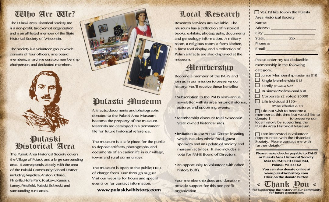 Pulaski Area Historical Society Brochure