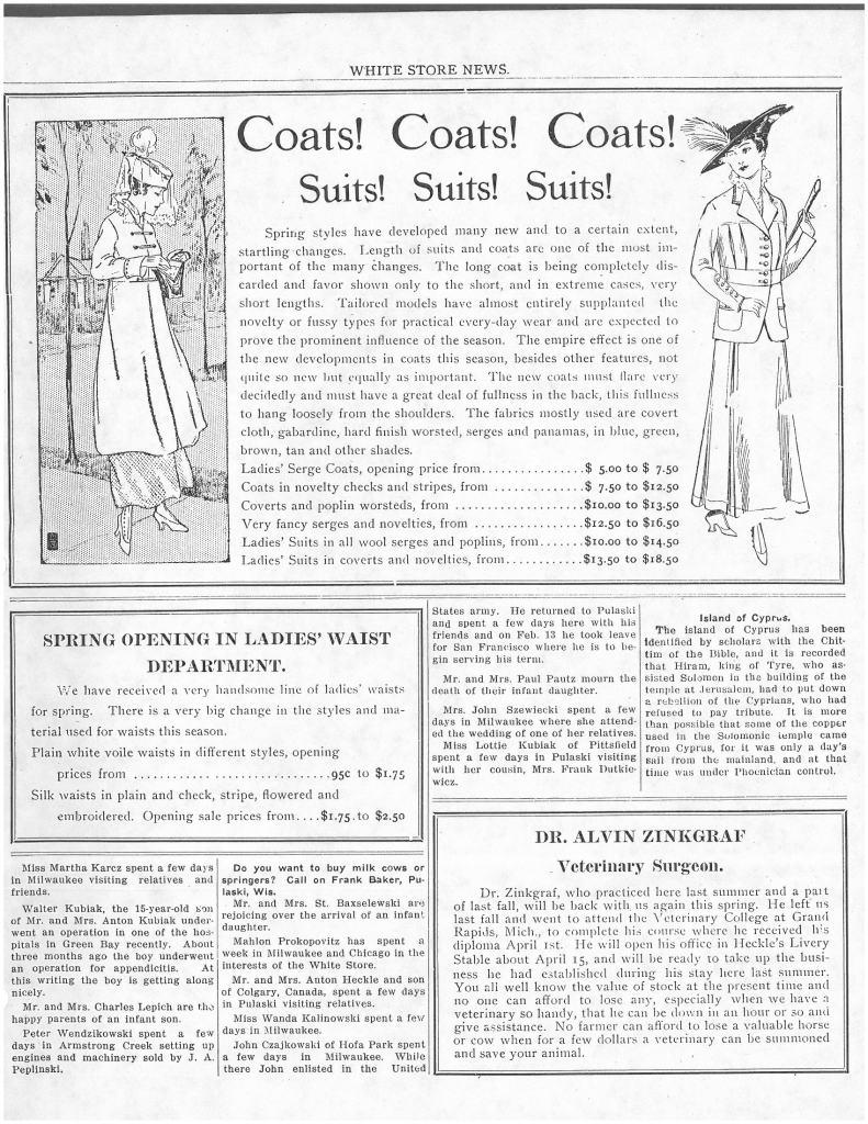 White Store Coats 1915