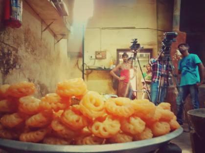 Shooting inside their kitchen on in full swing — in Dindigul, Tamil Nadu.