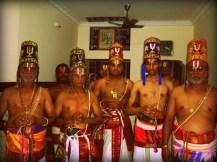 The Araiyar men wearing the traditional 'Panchakacham and Araiyar kulla' Photo courtesy: anudinam.org