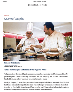 Pilgrim's Palate featured in The Hindu