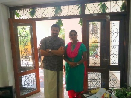 With Sumithra Srikanth of Aapti Gardening solutions who gave away micro greens and saplings