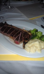 Ben & Jack's Steahouse's Sirloin steak w/ mashed potatoes and steamed broccoli