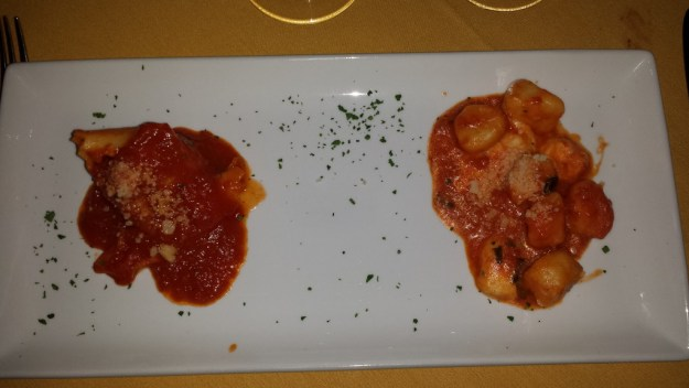 Hand crafted pasta duo...beef tenderloin stuffed Tortelone and Gnocchi Sorrentina