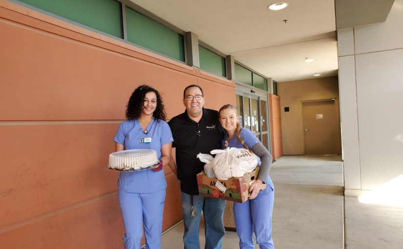 Macayo's has grocery items to go and and delivers to hospitals
