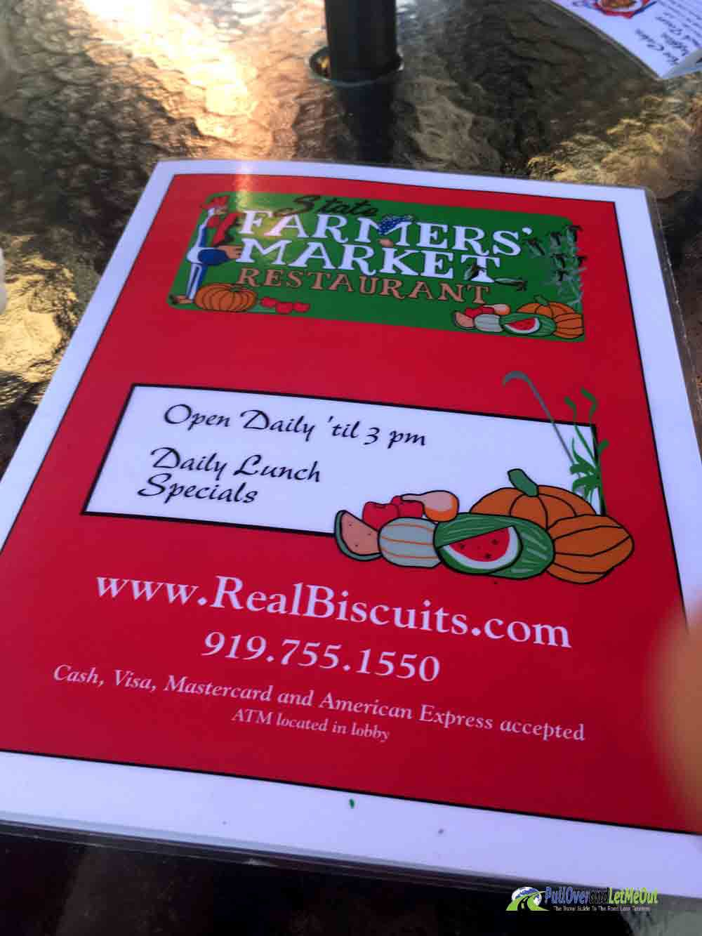 Menu NC Farmers' Market Restaurant PullOverandLetMeOut