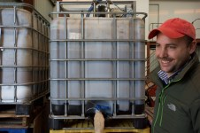 Christiaan with the compost tea brewer