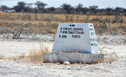 Road sign in Etosha