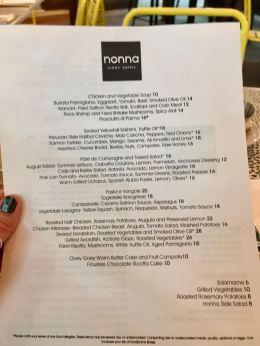 nonna urban eatery dinner menu