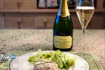 Champagne Bruno Paillard and crab salad