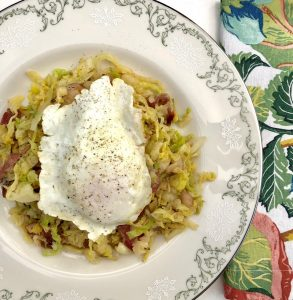 Colcannon with bacon and fried egg and Stony Hill Chardonnay