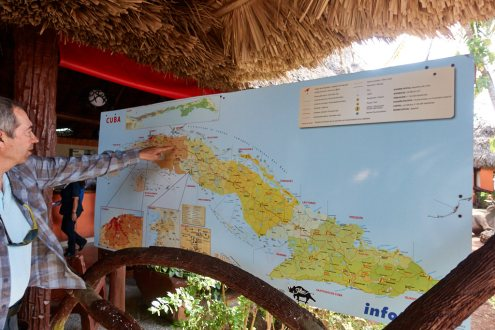 Pete with map of Cuba