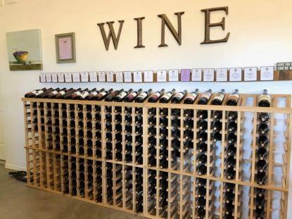 The wall of wine at Bodega Pierce