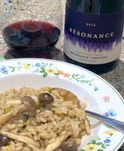 Resonance Pinot Noir and mushroom risotto