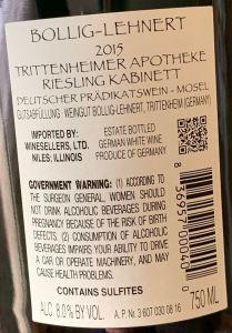 Bollig-Lehnert Trittenheimer Apotheke Riesling Kabinett, Mosel - back label