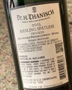 Dr. H. Thanisch Riesling Spätlese Trocken, Mosel - back label