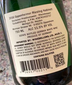 Weingut Dr. Heyden Oppenheimer Riesling Kabinett, Rheinhessen - back label