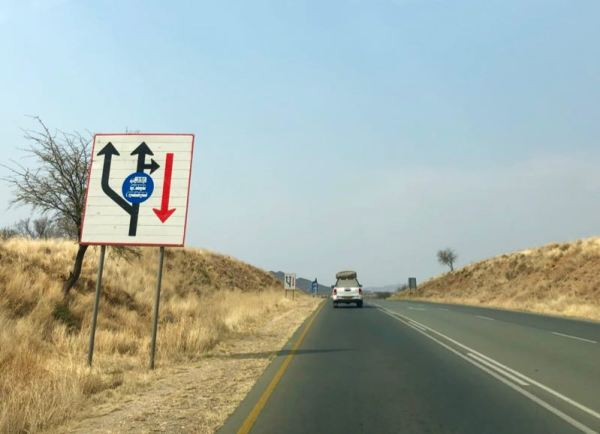 Road sign in Namibia