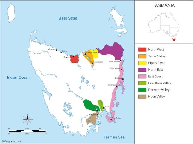 Tasmania wine regions map