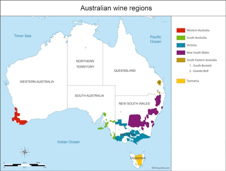 Australian wine regions map from Vineyards.com