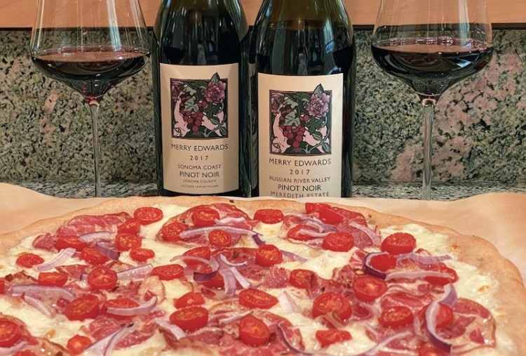 Merry Edwards Pinot Noir and homemade pizza photo