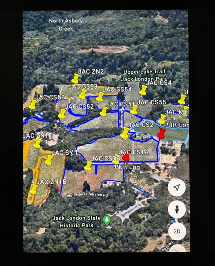 Jack London Vineyard map. Photo provided by Zeke Neeley photo