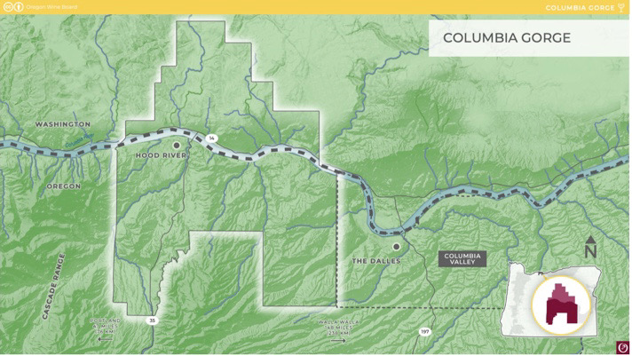 Columbia Gorge AVA map courtesy of the Oregon Wine Board photo