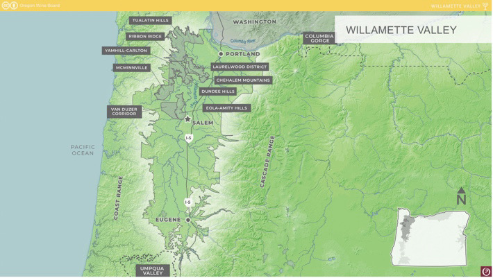 Willamette Valley AVA map courtesy of the Oregon Wine Board photo