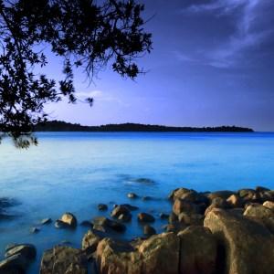 Rocky coastline in the evening