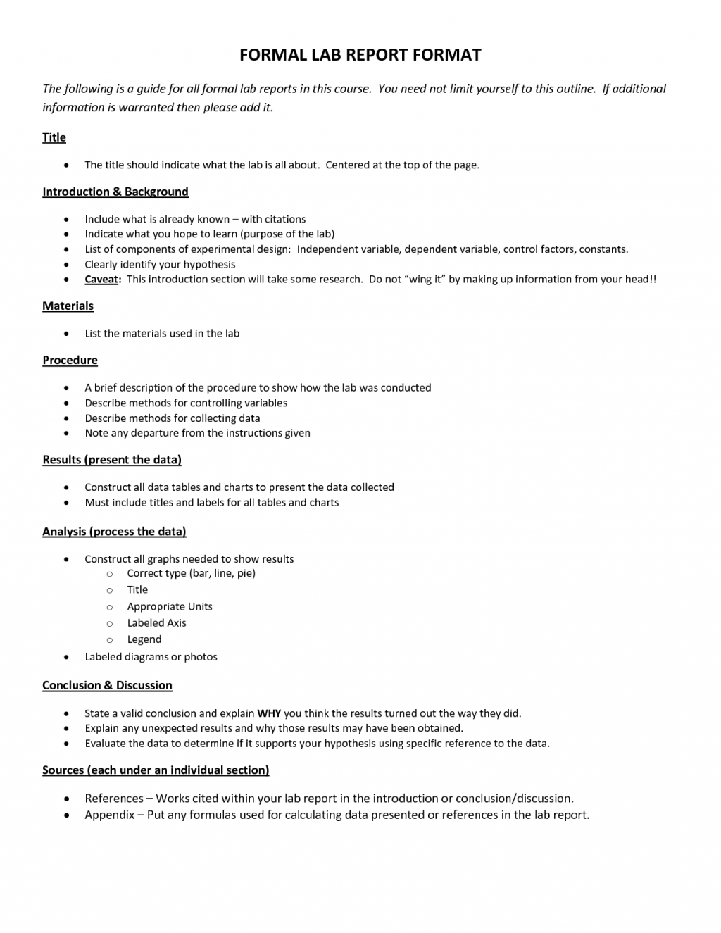 Formal Lab Report Format Biological Science Picture